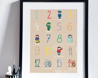 Children's Poster with Numbers and German Counting Rhyme