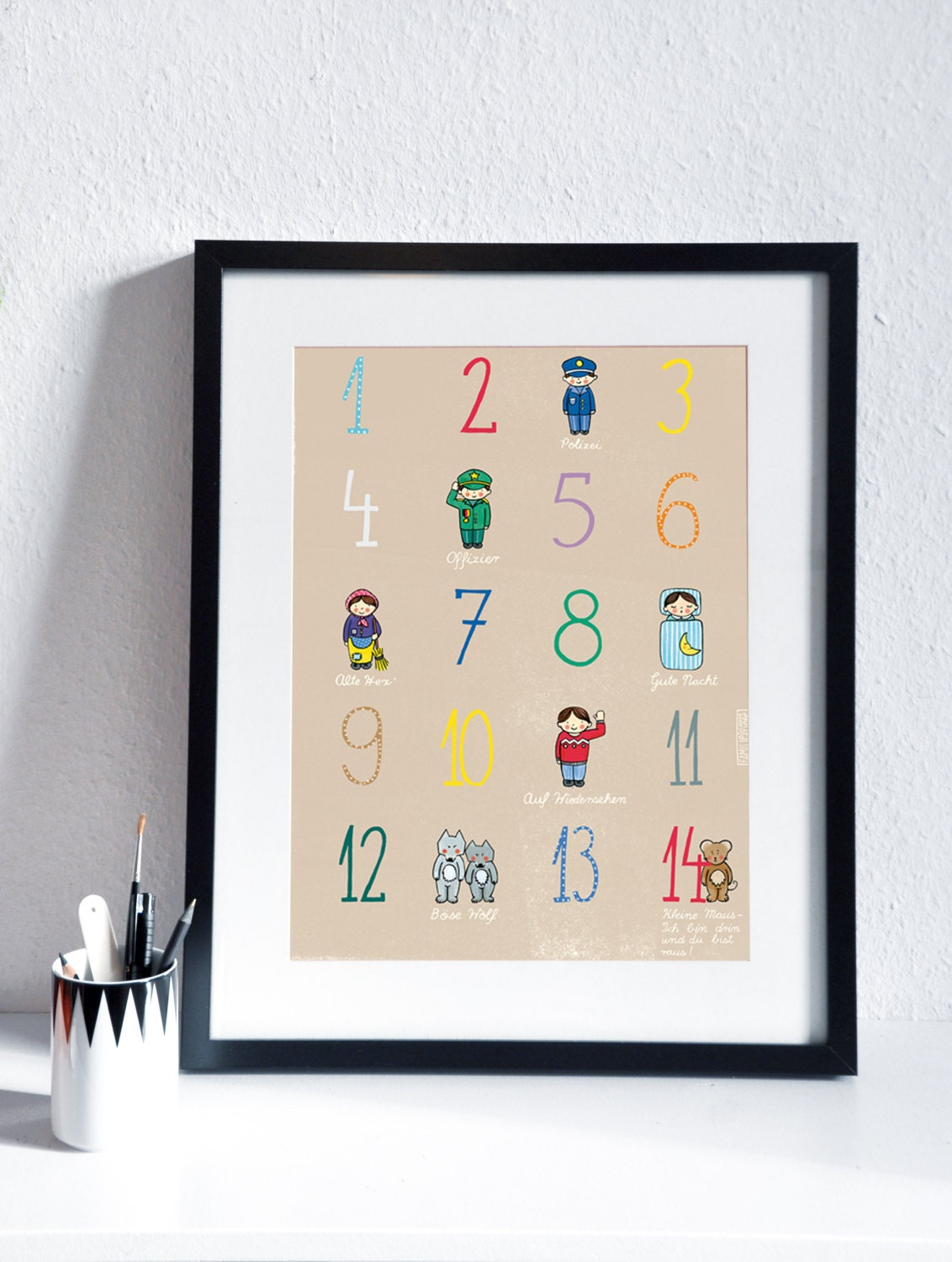 children 39 s poster with numbers and german counting rhyme. Black Bedroom Furniture Sets. Home Design Ideas