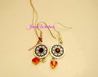 Red Earrings - Red and Silver - Gift - Drop Earrings