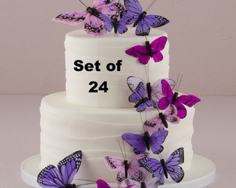 Wedding Cake Topper - Purple Butterfly Cake Set - Weddings - Cake Topper - Feather Butterflies - Garden Wedding - Woodland Wedding