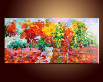 Painting Colorful Tree Painting Landscape Painting Original Painting Large Painting Impasto Texture Oil Painting Palette Knife Oil Painting