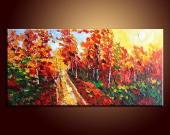 """Large Texture Palette Knife Oil Painting Landscape Painting 48"""" Oil Painting Original Painting Autumn Forest Landscape Painting"""