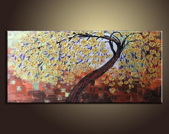 Painting Golden Flower Tree Painting Flower Painting Original Painting Large Painting Impasto Texture Painting Palette Knife Oil Painting