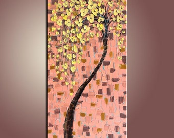 Flower Painting Painting Blooming Flower Tree Painting Original Painting Large Painting Impasto Texture Painting Palette Knife Oil Painting