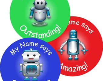 140 Personalised Robots themed Teacher Reward Stickers