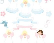Angel clipart,ribbon clipart, bell clipart Instant Download. Angeles celestes, Angeles rosados. Archivos Jpg, Eps, Png