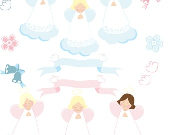 Angel clipart,ribbon clipart, bell clipart Instant Download. Angeles celestes, Angeles rosados. Archivos Jpg, Eps, Png