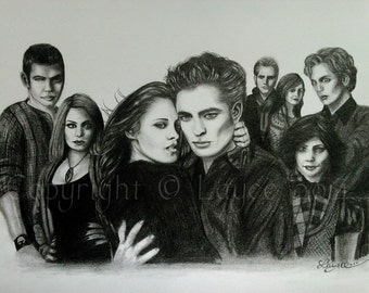 ORIGINAL Graphite Drawing - 'The Cullens' - on artist paper by Layce.