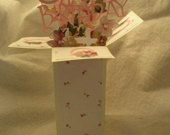 Pink Rose buds Birthday card in a box