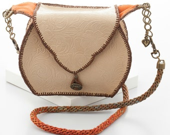 Handcrafted Cream Embossed Leather Handbag