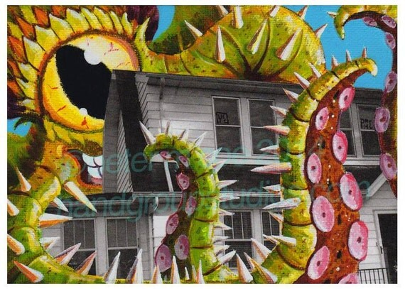 "Detroit Kaiju Tentacle Monster 5x7 Print ""Fenster's Folly"" Original Art Print by Pete Coe"