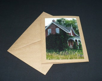 Abandonded Art Blank Photo Greeting Card All Occasion Deserted Red Brick House Fine Art Photo Ontario Canada