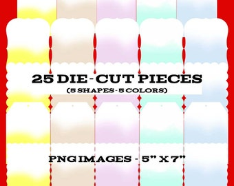 25 Digital Die-cut Templates - 5 Colors - Download - Personal - Commercial - Customize - Scrapbook