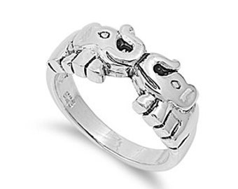 Elephant Ring 9MM Sterling Silver 925