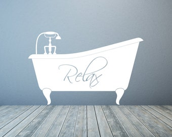 bathtub relax bathroom vinyl wall decal art sticker any colour and size