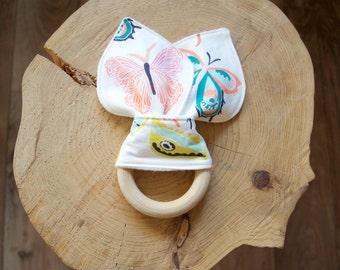 Organic Bunny Ear Teething Toy Butterflies - Teether - Premium Cotton and bamboo fleece on the back