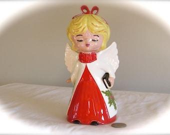 Kissing Angel Vintage Hand Painted, Vintage Collectible Ceramic Angel, laslovelies