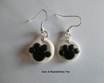Handcrafted Fimo Paw Print Earrings