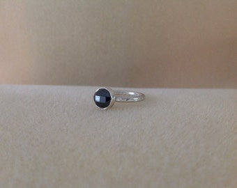 Rose cut Black Spinel Sterling and Fine silver ring