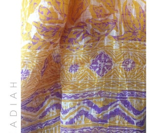 Bali sunset silk scarf. Traditional batik scarf.