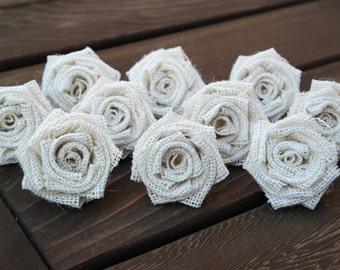 Burlap Flowers, Burlap Roses, Wedding Decoration, Shabby Chic Burlap Roses, Rustic, Shabby Chic Wedding Decor, SET OF 10