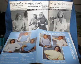Vintage Mary Maxim Misses Sweater Patterns - 10 Different Styles