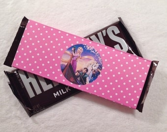 10 - Rapunzel Tangled Hershey Bar Orchid Polka Dot Candy Wrappers Birthday Party Favor