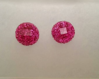 Pink Glitter Post Earrings