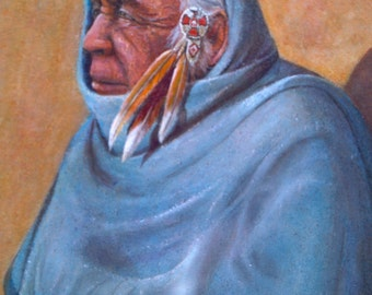 Poignant Native American Painting..Signed by Artist..vintage 1970s..PRINT