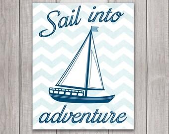 75% OFF SALE - Sailboat Nursery - 8x10 Nautical Decor, Baby Boy Nursery, Nursery Decor, Navy Blue, Chevron, Printable Nursery