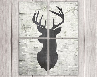 Deer Prints (Set of Four 8x10s) - Hunting Decor, Printable Art, Rustic Decor, Deer Head, Antler, Deer Head, Rustic Home Decor