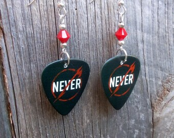 Metallica Through the Never Guitar Pick Earrings with Crystals