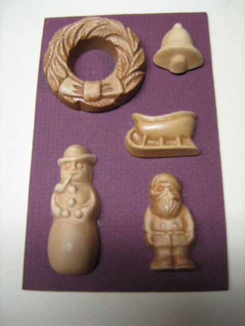 Set 5 Ziegler Candy Company Stained Candy Molds 1980s 1 Santa Claus or Saint Nick's 1 Wreath 1 Sled 1 Snowman 1 Christmas Bell Decoration's