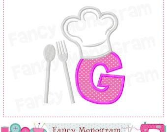 Chef's Hat Monogram G applique,Letter G applique,Birthday Letter G applique,G,Font G applique,Chef's Hat,Chef applique.02