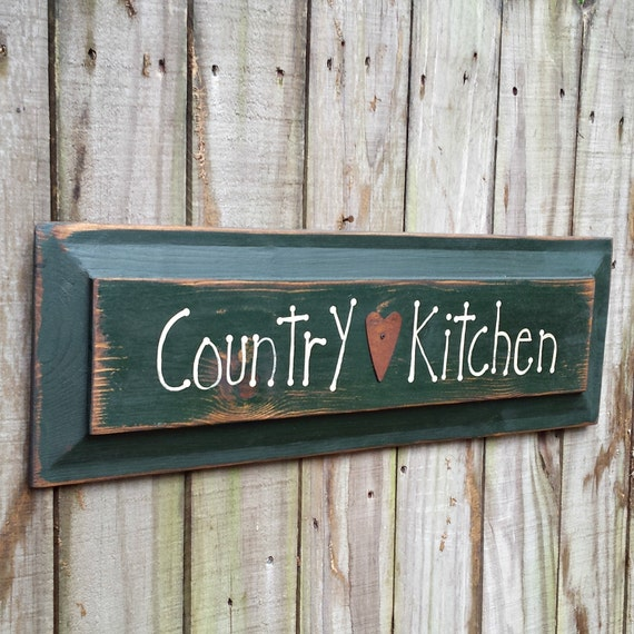 Country Kitchen Hand Lettered Solid Wood Sign - Country Style Wall Decor, Primitive - Folk Art -OFG, FAAP, HAFAIR
