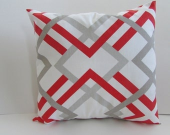 SALE Gray/Red  Modern Design Decor Pillow Cover, Gray/Red Accent Pillow Cover