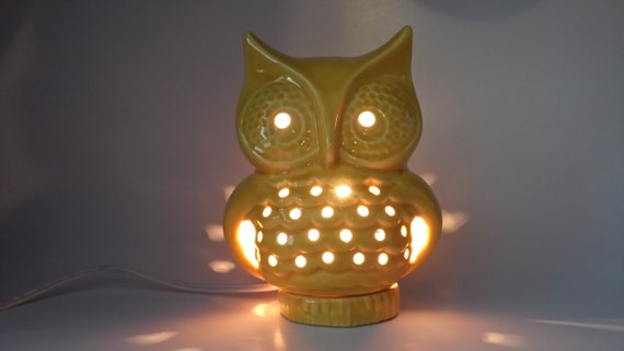 Ceramic Owl Night Light Yellow Glaze Handmade Nostalgic
