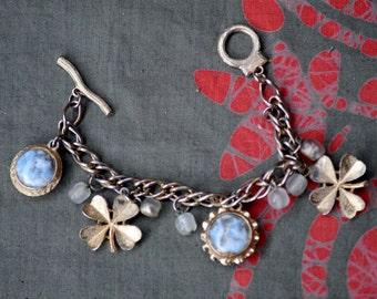 Vintage 4 Leaf Clover Charm Bracelet