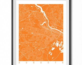 AUGUSTA Map Art Print / Georgia Poster / Augusta Wall Art Decor / Choose Size and Color