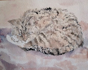Tabby Cat Painting - Cat watercolor - Kitty painting