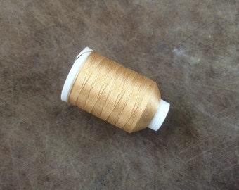 Vintage Gudebrod/Utica Silk Thread Spool, Gold, Size F, 185 Yards