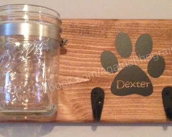 Dog-cat leash/treat holder,Handmade wooden decor for your pets accessories and snacks,Great gift idea for those pet lovers
