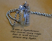 """mantra-in-a-bottle includes: """"I am a lighthouse. The storm may rage but it will never douse my light."""""""