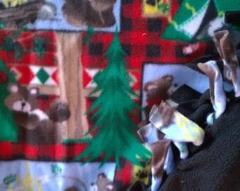 Camping Bears No Sew Fleece Blanket
