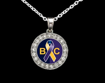 Bladder Cancer Awareness Rhinestone Necklace