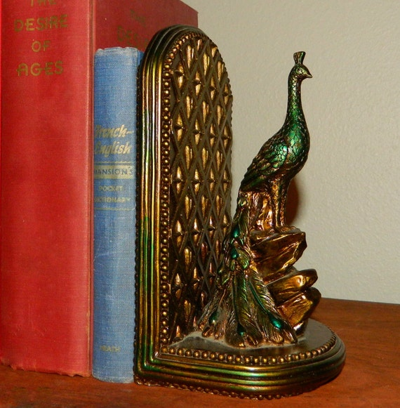 Art Deco Hand Painted Peacock Bookends With By Bricabracandbaubles