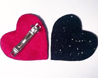 Glitter Heart Hair Barrette, handmade in the UK