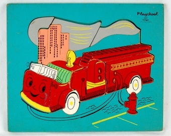 Vintage Playskool Firetruck Children's Wood Puzzle