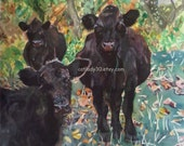 Black Cows watercolor print. Cow painting. Country decor. Cow wall art. Cow picture. Watercolor animal. Watercolor art. Cow artwork.