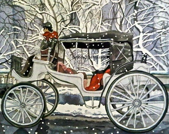 Central Park Carriage Watercolor Print. Winter painting. Snow picture. Romantic decor. Winter picture. Red white black. Winter decor.